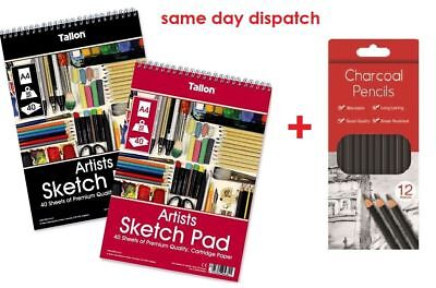 A4 Artist Sketch Drawing Book Pad 40 Sheets 90gsm + Charcoal Pencils Set