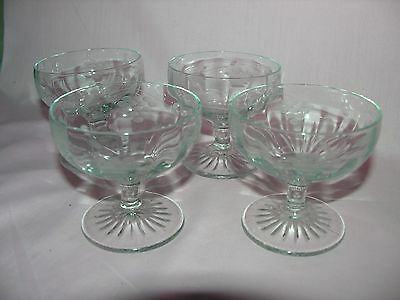 Antique Small Etched Grapes Optic Wine Glasses Set Of Four