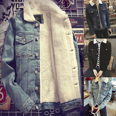 Winter Mens Fleece Jacket Warm Fur Lining Coat Jean Denim Single Breasted S-2XL