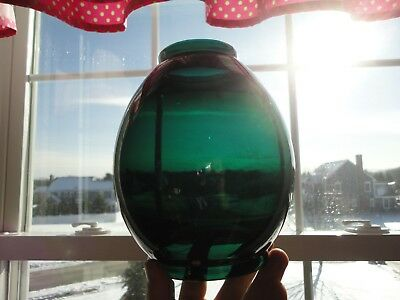 Antique EMERALD GREEN Marine? Railroad? Lantern Lamp Globe Shade - NICE!