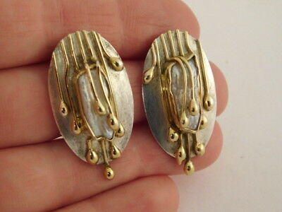 Sterling Silver Baroque Pearl Earrings Abstract Artisan Designer Signed