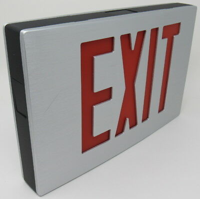 NEW Beghelli LC1-E Architectural Aluminum LED EXIT SIGN 120/277V Double Face RED