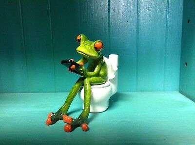 Frog Sitting on Toilet with Cellphone Figurine pencil/toothbrush/plant holder