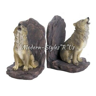 Decorative Animal Howling Wolf Bookends Book Ends