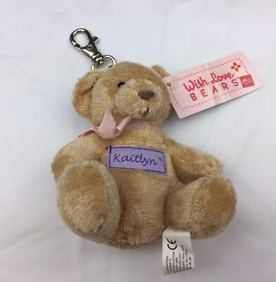 MINT Russ® With Love Name Keychain Bear 9 Letter H-L CHOICES Haley to Lauren