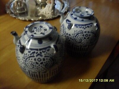 Two Large Chinese Wine Pots - Vivid Blue and White