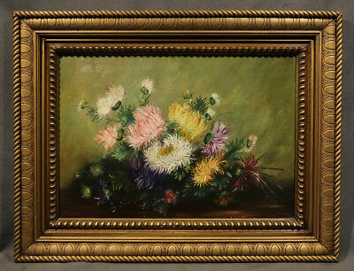 """Early 20th Century Still-Life Oil Painting of Flowers signed """"T. Guerin"""""""