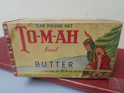 V. Rare Tomah Brand Farmers Coop Dairy 1# Butter Box.  Tomah Wi. Wisconsin. Milk