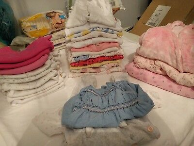 Huge Lot of Baby Girl Clothes Newborn Tiny Baby First Size Perfect Condition