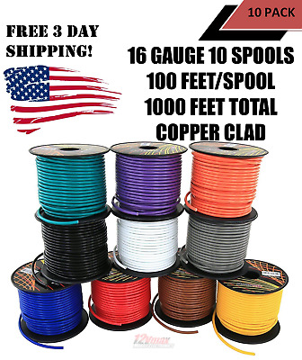 16 GA GAUGE 100 FT SPOOLS REMOTE POWER GROUND WIRE PRIMARY 6 Pack 16-100-6GN