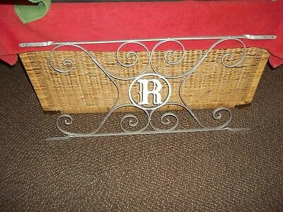 """Letter R vintage aluminum scrolled screen door guard protector 33 1/2""""  x 16"""""""