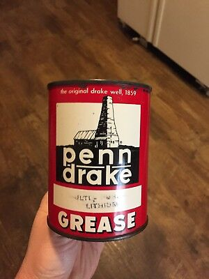 VINTAGE Super PENN DRAKE Fan bearing GREASE CAN OIL CAN  1 Pound can G5A
