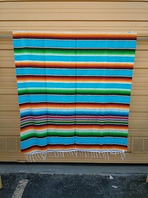 SERAPE XXL,5'X7', Mexican blanket, HOT ROD, Seat covers,MOTORCYCLE, TURQUOISE