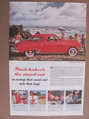 1949 Studebaker Commander Red Starlight Coupe At Beach Automobile Color Ad