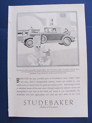 1929  Studebaker President 8 Convertible  Cabriolet Automobile Ad