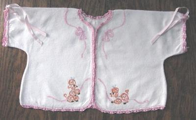 True Vtg Baby White Flannel Hand Embroidered Poodles Pink Crochet Jacket Kimono