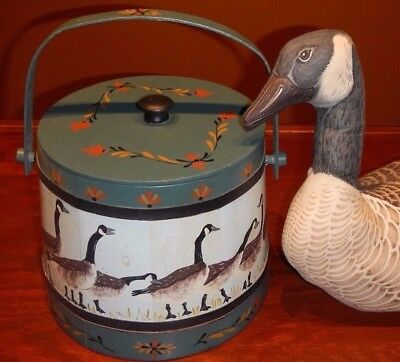 Canada Goose Stuffed  Folk Art Spaulding & Frost Barrel with Lid christmas gift