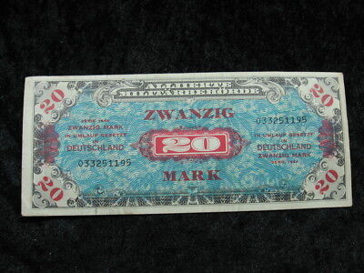 1 Allied Military Currency AMC currency note GERMANY 20 marks P195 1944 WW II