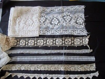 Lovely Antique Lace Lot Valenciennes Embroidered & More~Trim For Doll Clothes!