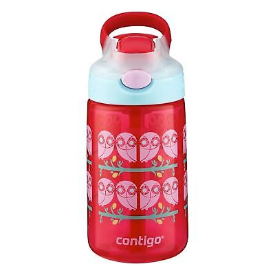 Contigo AUTOSPOUT Gizmo Flip Kids Straw Water Bottle 14oz Ruby Owl Spill Proof