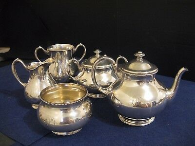 Antique Frank M Whiting Beaded Sterling Silver 5 Piece Tea Set...120+ Years Old
