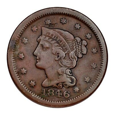 1846 Braided Hair Large Cent 1C Penny (Fine, F Condition) Small Date Type