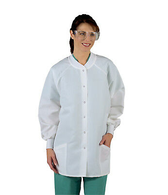 Medline Ladies' ResiStat Warm-Up Jacket, White (Size S - 3XL)