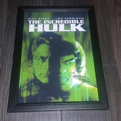 """The Incredible Hulk Pp Signed & Framed A4 12X8"""" Photo Poster Lou Ferrigno Bixby"""