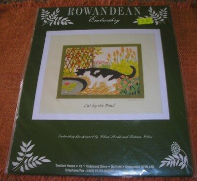 Rowandean Embroidery Cat By The Pond  95Mm X 70 Mm