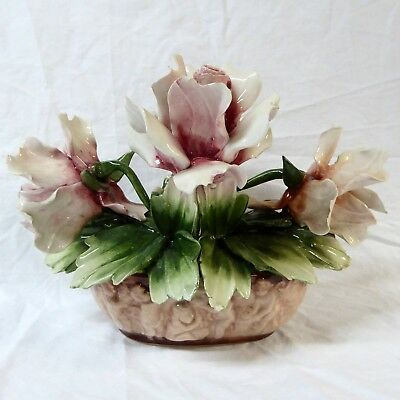 Capodimonte 4 Roses in Cherub Vase 10 x 6 x 6 inches Vintage with Flaws