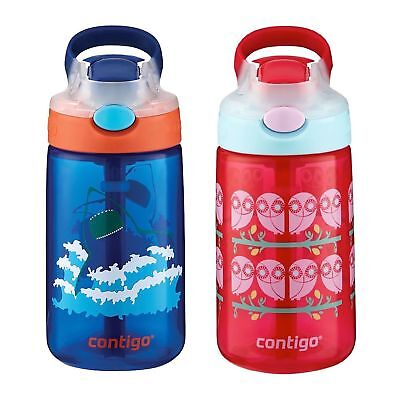 Contigo AUTOSEAL Gizmo Sip Kids Water Bottle 14oz Set Blue Shark & Ruby Owl Pink