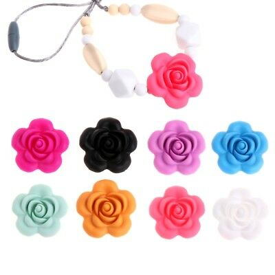 Silicone Beads Rose Pendant Baby Teether DIY Necklace Free Decor Safety Teething