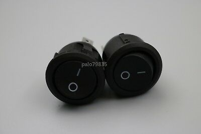 5Pcs Round Black Rocker Switch 3Pin SPDT 6A/250V 10A/125V KCD1-2