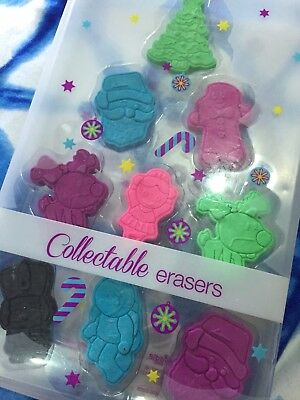 Smiggle Christmas Collectible Erasers 9 Pack Limited Edition