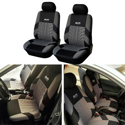 Zone Tech Thickening embroidery Black  car  front seat cover 2 PCS Charcoal Gray