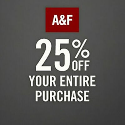 AF A&F Abercrombie & Fitch 25% OFF Discount Promo-Coupon (*SALE & CLEARANCE*)