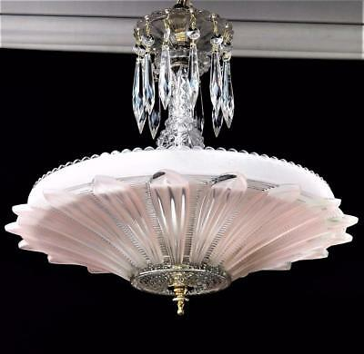 Antique 1930's/40's Art Deco Pink Glass Sunflower Shade Ceiling Light Chandelier