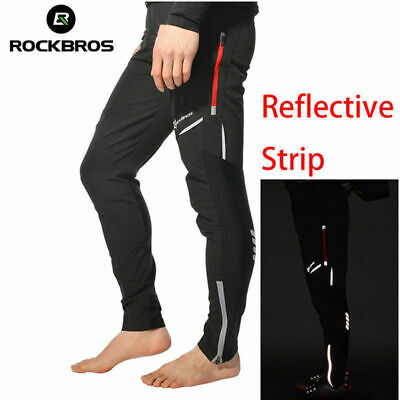 RockBros Men's Long Pants Cycling Pants Bike Tights Reflective Trousers Black