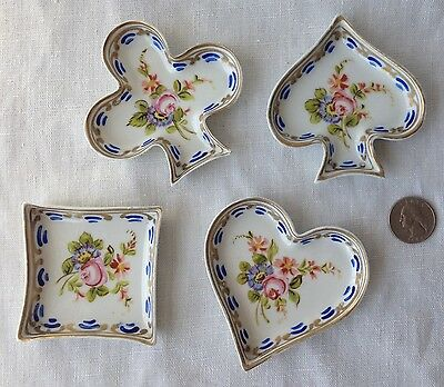 """1752 Sevres 4 Nut Dishes Playing Card Suits Hand-Painted Florals French 3.25"""""""