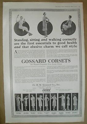 "1919 Big ads Gossard Corsets ""They Lace in front"" - Warner's Corsets, Listerine"