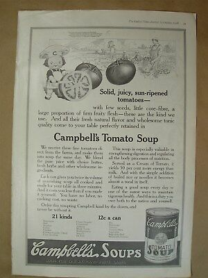 1918 Vtg Big ad Campbells Tomato Soup- Minerva Yarns, What Liberty Bond has done