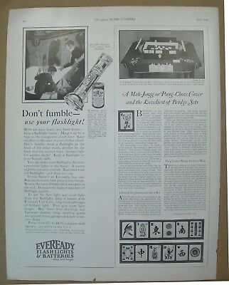 1924 Big ad Eveready Flashlights Batteries - Raglan Crepe de Chine cross stitch
