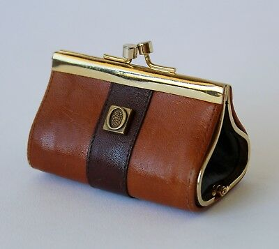 Vintage Retro OROTON Brown Leather COIN PURSE Made in Italy