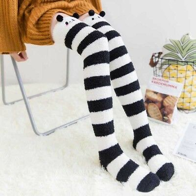Winter Coral Knee Socks Girls Women Stockings Striped Cozy Long Thigh High Socks