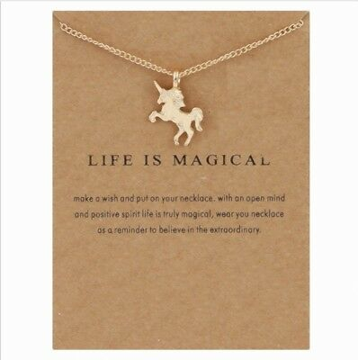 Exquisite 925 Silver&Yellow Gold&Rose Gold Filled Horse&Unicorn Pendant + Chain
