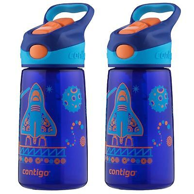 Contigo AUTOSPOUT Striker Kids Straw Water Bottle 14oz Blue Blast Off (2-Pack)