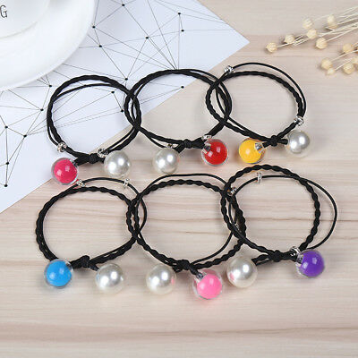 Girls Faux Pearl Beads Hair Bobbles Ties Band Elastic Ponytail Holder Lot Nice