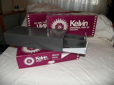 KELVIN UNIVERSAL 4 x TWIN 50 SLIDE MAGAZINE STORAGE SYSTEMS IN ORIGINAL BOXES