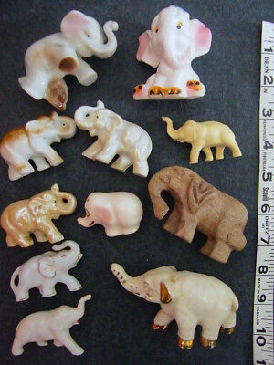 Lot of 11 vintage Elephant Figurines, ceramic, wood, resin–mostly 1950-60s Japan