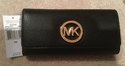 83587634bab6 NWT Michael Kors Fulton Carry All Flap Black Leather Gold MK Wallet  35F0GFTE1L